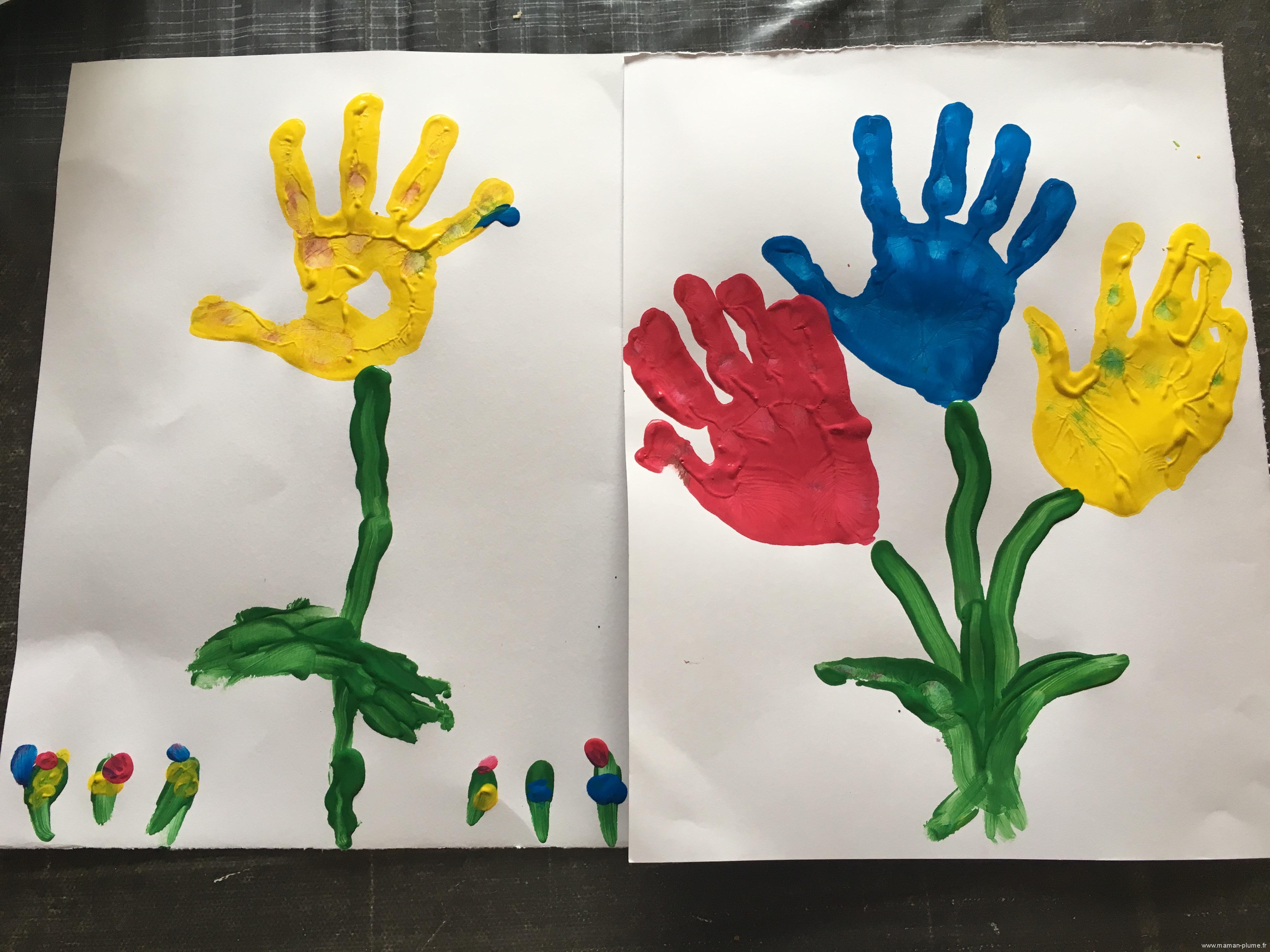 Activit peinture fleurs la main le blog de maman plume - Activite manuelle a faire a la maison ...