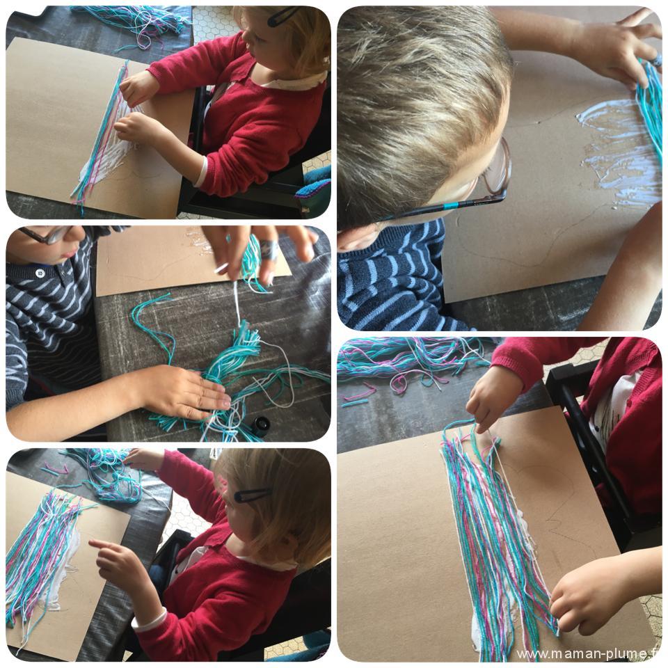 activite enfant tableau laine