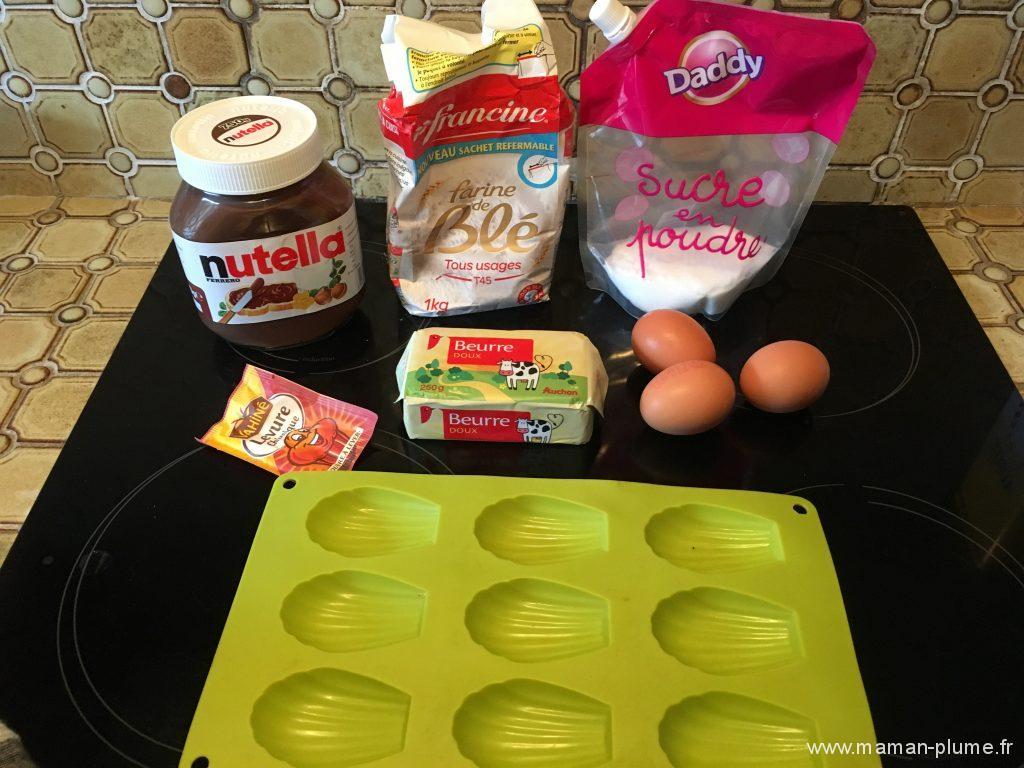 ingredient madeleines nutella