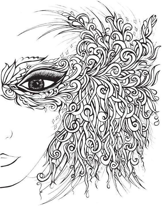 Coloriage adulte masque cheveux le blog de maman plume - Coloriages pour adultes ...
