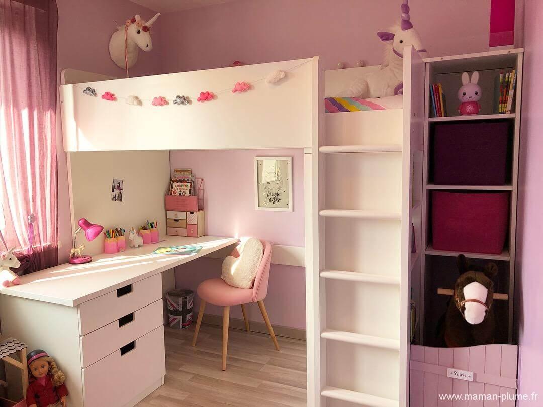 une petite chambre fille totalement girly et licorne cham le blog de maman plume. Black Bedroom Furniture Sets. Home Design Ideas
