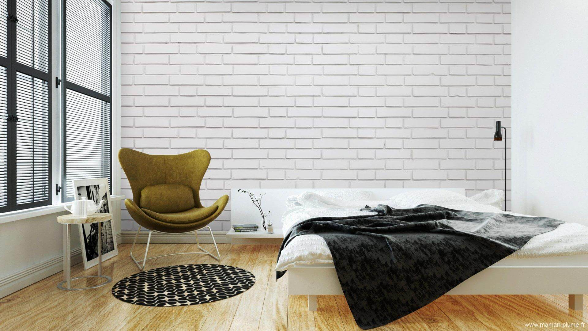 Papiers Peints Autocollants Pour Chambre A Coucher Themes Mur Brique Blanc