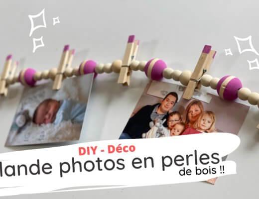 Une guirlande photos en perles de bois !